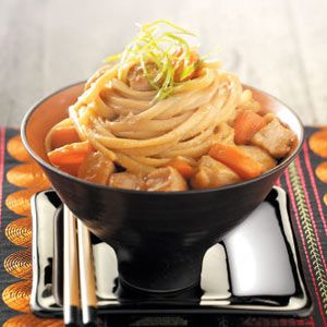 Asian Pork Linguine Recipe from Taste of Home #healthy #quick