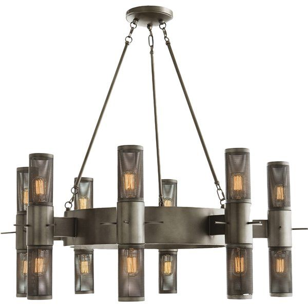 Both gothic and industrial, this circular chandelier works in a multitude of interiors. The 18 lights are housed inside the mesh columns.