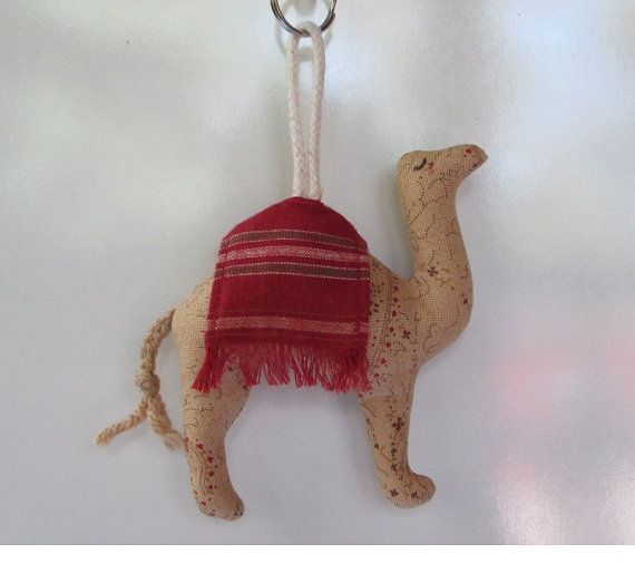 Fabric Camel keychain, ceiling fan pull, backpack accessory, Christmas tree ornament,