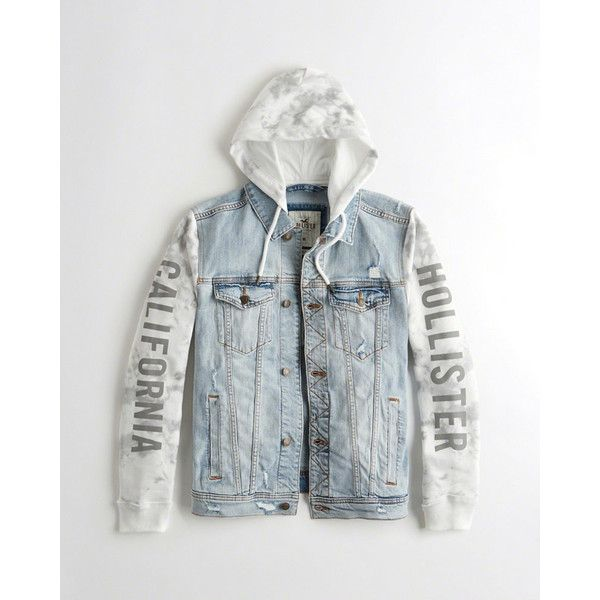 Hollister Hooded Denim Jacket ($100) ❤ liked on Polyvore featuring men's fashion, men's clothing, men's outerwear, men's jackets, white tie dye, mens utility jacket, mens hooded jean jacket, mens white jean jacket, mens hooded denim jacket and mens white denim jacket