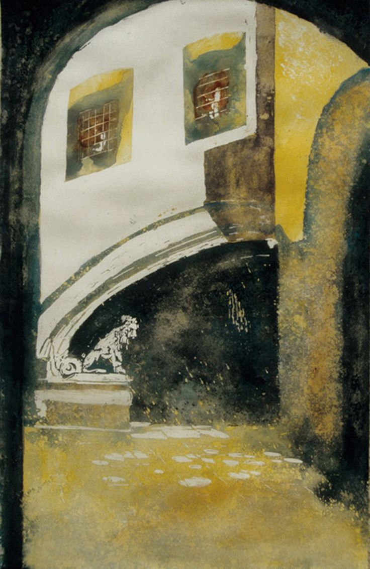 """lions in the courtyard florence (2) 19"""" x 12"""" micheal zarowsky / watercolour on arches paper / available $550.00"""