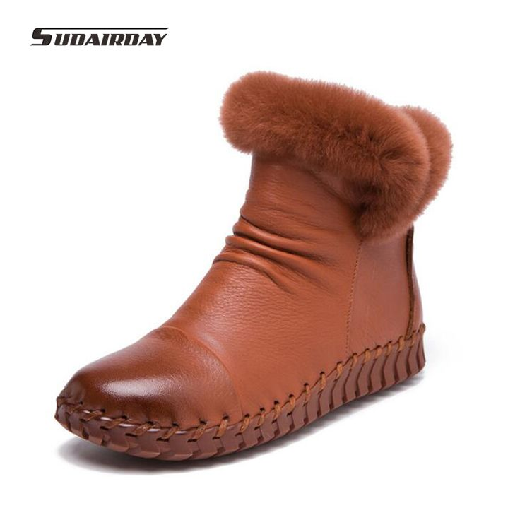 2016 Handmade Women's Winter Boots Women Real Fur Winter Shoes Woman Genuine Leather Warm Ankle Snow Boots Mujer Chaussure
