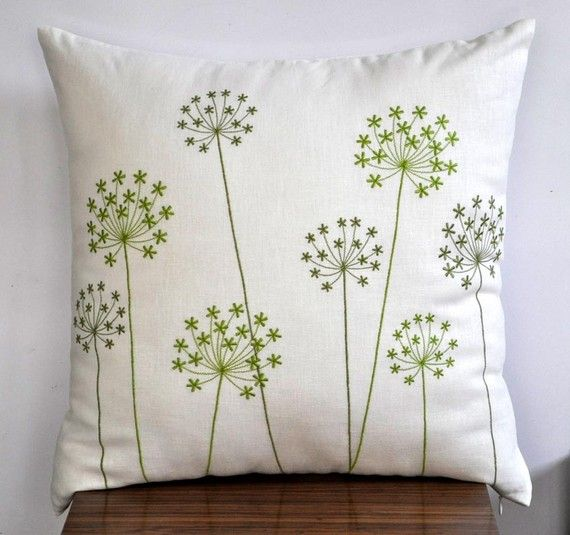 Green Pillow Cover, Fresh Green Queen Ann Embroidery on Cream Pillow, Linen Embroidered Pillow,Throw Pillow Cover 18 x 18, Cushion Cover
