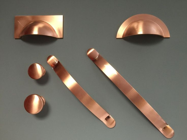 Brushed Copper Cup Pull Handle Knob Bow Kitchen Cupboard Door- Crofts & Assinder