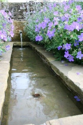 garden water feature - Stone rill , a peaceful spot. simple, rustic fountain feature | plantsfordallas.com