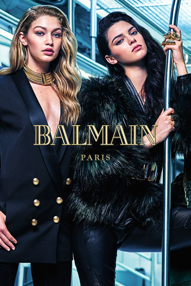 The golden girls of social media Gigi Hadid and Kendall Jenner dazzle in the futuristic subway setting. Photo by Mario Sorrenti.  #HMBALMAINATION | Balmain x H&M
