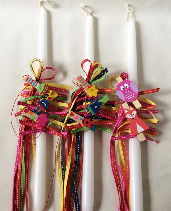 Orthodox Easter Candle Happy Colours by marilous on Etsy