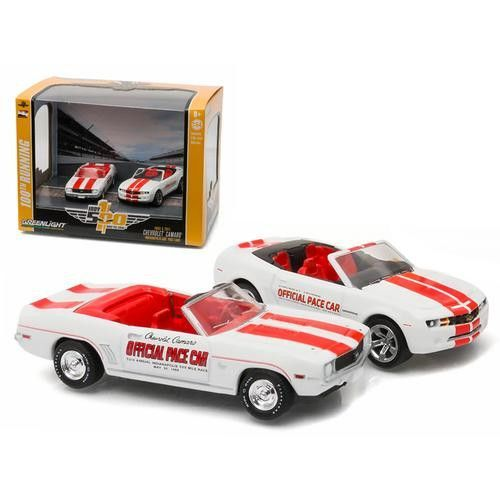 1969 Chevrolet Camaro Convertible & 2011 Chevrolet Camaro SS Indianapolis Indy 500 Pace Cars Set of 2 1/64 Diecast Model Cars by Greenlight