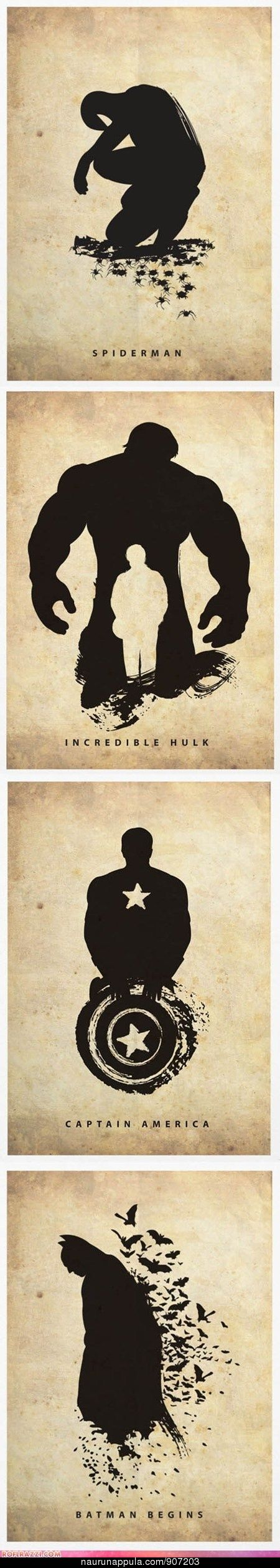 Superhero Silhouettes - Spiderman, The Hulk, Captain America, Batman.  Neutral wall decor for the boys.