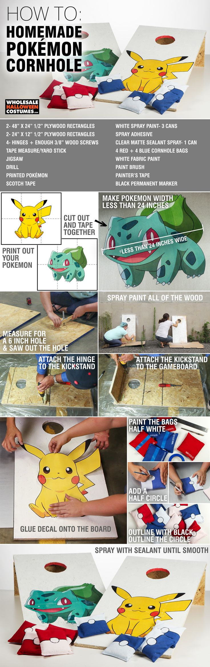 DIY your very own Pokemon Cornhole to play while you're charging up your battery to play more PokemonGo!