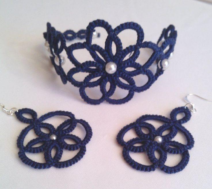 Armband + Ohrhänger, Occhi, Frivolite, Handarbeit, Einzelstück, Irina Collection   eBay