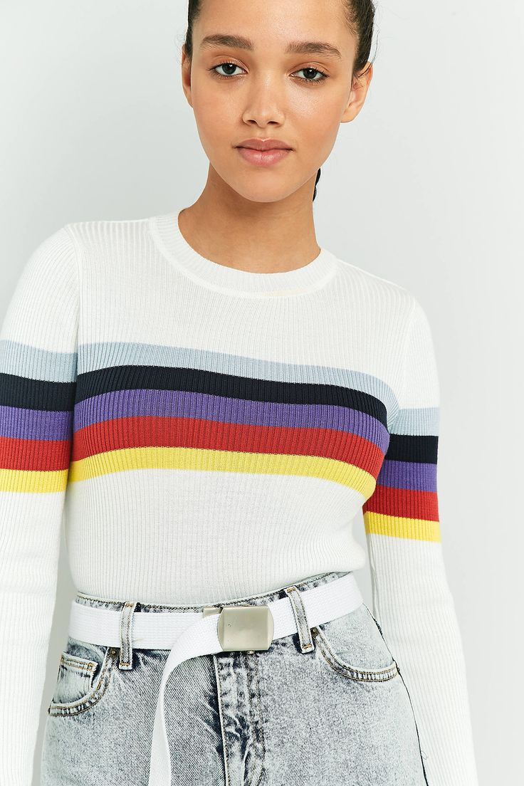 Slide View: 5: Urban Outfitters Rainbow Block Striped Jumper