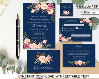 Navy Wedding Invitation Template, Silver Navy Wedding Invitation Suite, Floral Wedding Set, #A011S, Editable PDF - you personalize at home.