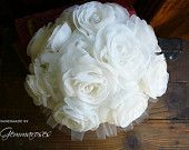Bridal Fabric Bouquet - Ivory Handmade Roses - Made to Order