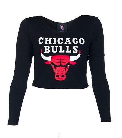 NBA 4 HER Chicago Bulls fitted crop top Stretch fabric for comfort Basketball Long sleeves Boat neck style CHICAGO BULLS logo on front Solid black back