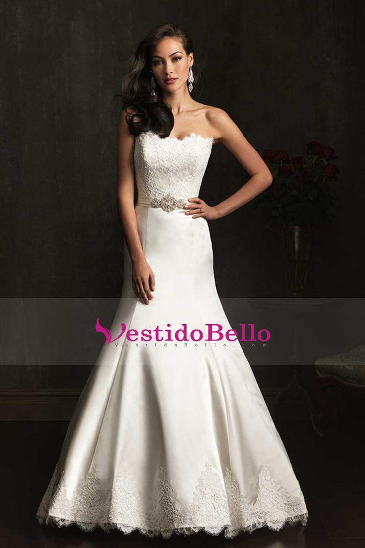 2014 vestidos de boda sin tirantes de la trompeta / de la sirena del cordón del satén de la blusa de la falda con apliques Edge US$ 249.99 VTOP8T7ASYZ - vestidobello.com for mobile