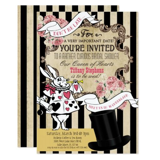 459 best tea party birthday invitations images on pinterest alice in wonderland bridal birthday invitation 5x7 stopboris Image collections