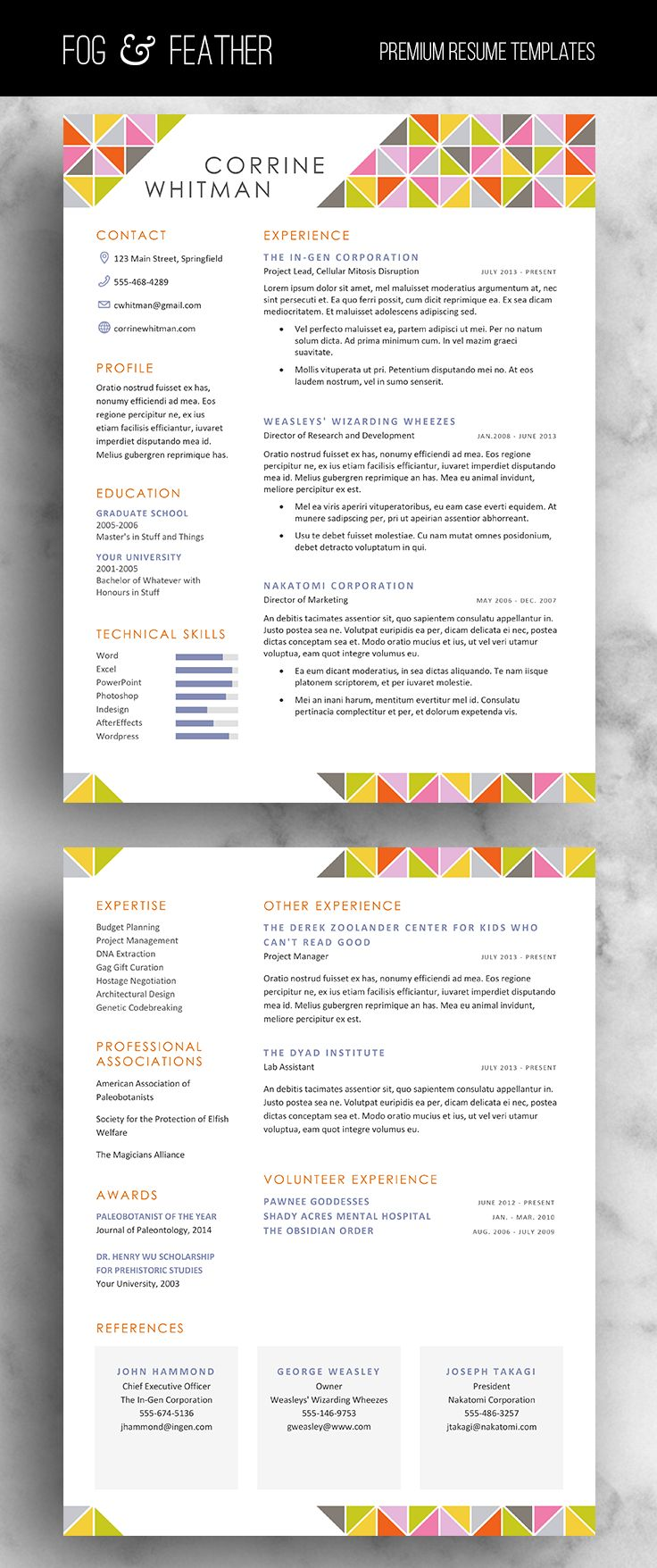 17 best images about personal branding job cover resume template cv template cover letter references word us letter modern resume design instant