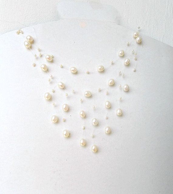 Floating necklace Real Pearl necklace bridal jewelry