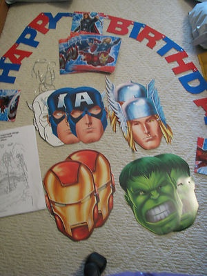 The Avengers Marvel Birthday Party Supplies Masks Napkins Sign Puzzles | eBay