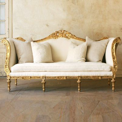 White and gold sofa Tone on tone texture