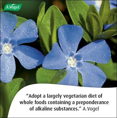 Adopt a largely vegetarian diet of natural whole food products containing a preponderance of alkaline substances. A.Vogel