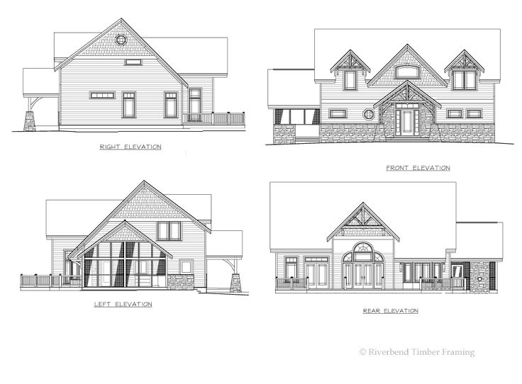 Timber Frame House Plan of Riverbend Timber Framing Elevation | TF ...