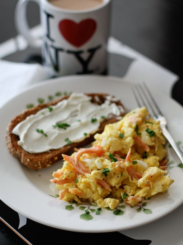 A step up from your everyday scrambled eggs. Scrambled eggs with smoked salmon is a wonderful weekend breakfast!