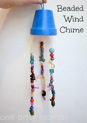 beaded windchime, terracotta pot, painted windchime