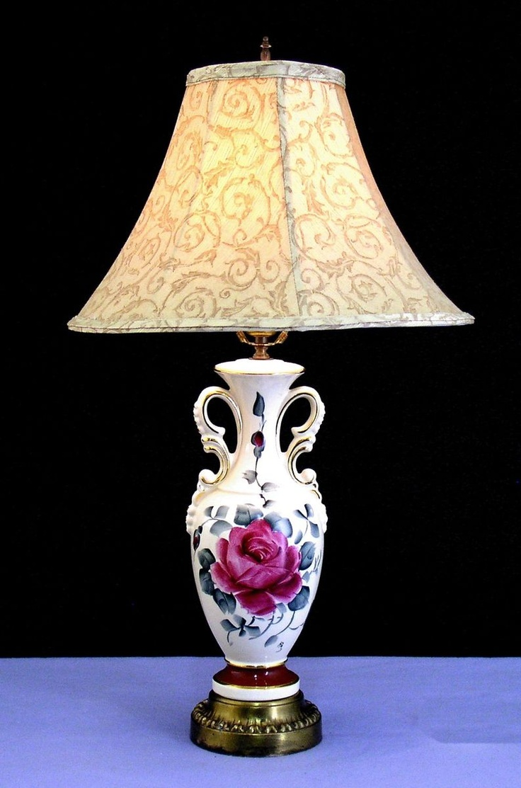 Beautiful Vintage Hand Painted Signed Table Lamp W Shade