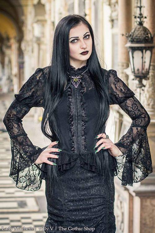 Fleur de Lys Black Lace Corseted Blouse by Punk Rave