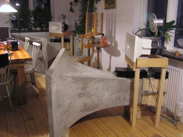 gigantic bass horn speaker made from concrete, Sweden