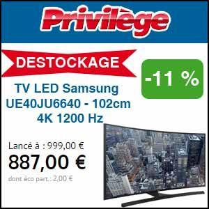 #missbonreduction; Déstockage: réduction de 11% sur la TV LED Samsung UE40JU6640 - 102cm 4K 1200 Hz chez Privilège-discount.http://www.miss-bon-reduction.fr//details-bon-reduction-Privil%e8ge-discount--i854285-c1833616.html