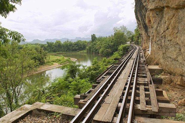 Railway crossing on the River Kwai at Kanchanaburi in Thailand