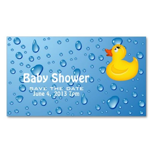 Yellow duckie baby shower save the date business card for Business save the date templates free