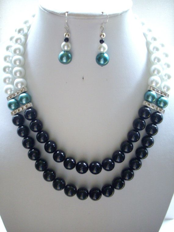 Jet Black Fossil Beads, White and Teal Pearls and Silver Rhinestone Spacer Bar Double Strand Necklace and Earrings