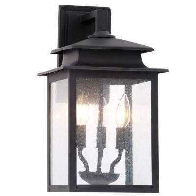 """$69.97 16"""" World Imports Sutton Collection 3-Light Rust Outdoor Wall Sconce-WI910642 - The Home Depot"""