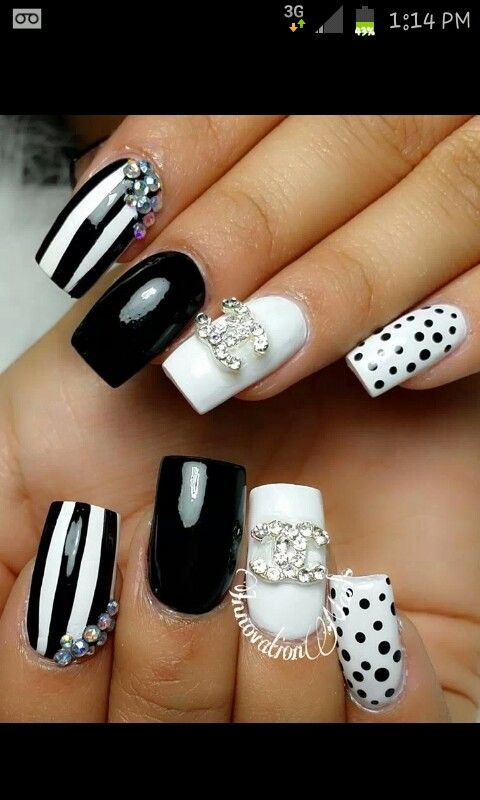 The 25 best chanel nails design ideas on pinterest chanel nail black white chanel prinsesfo Image collections