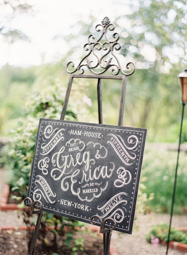 Lovely chalkboard sign on easel.   #wedding #chalkboard #sign