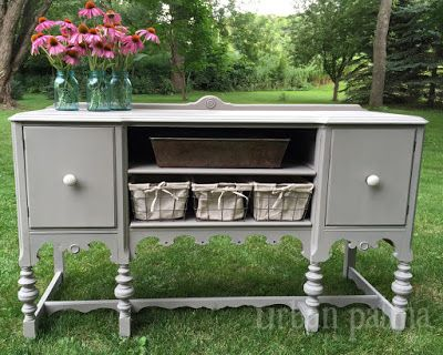 Annie Sloan Chalk Paint, French Linen, Antique Buffet {Repurposed}