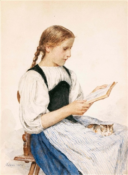 """Reading Girl with Kitten"", also known as ""Lesendes Madchen Mit Katzchen"" (1904), by Swiss artist - Albert Anker (1831-1910), Pencil and watercolor on paper, 33.5 x 24.5 cm., Location unknown."