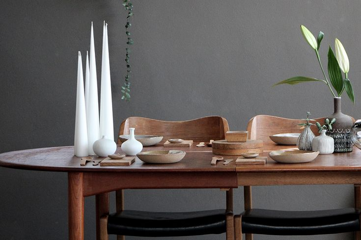 Festive Table - Scandinavian table ware. Timber spoons , timber knives and Ester & eric candles