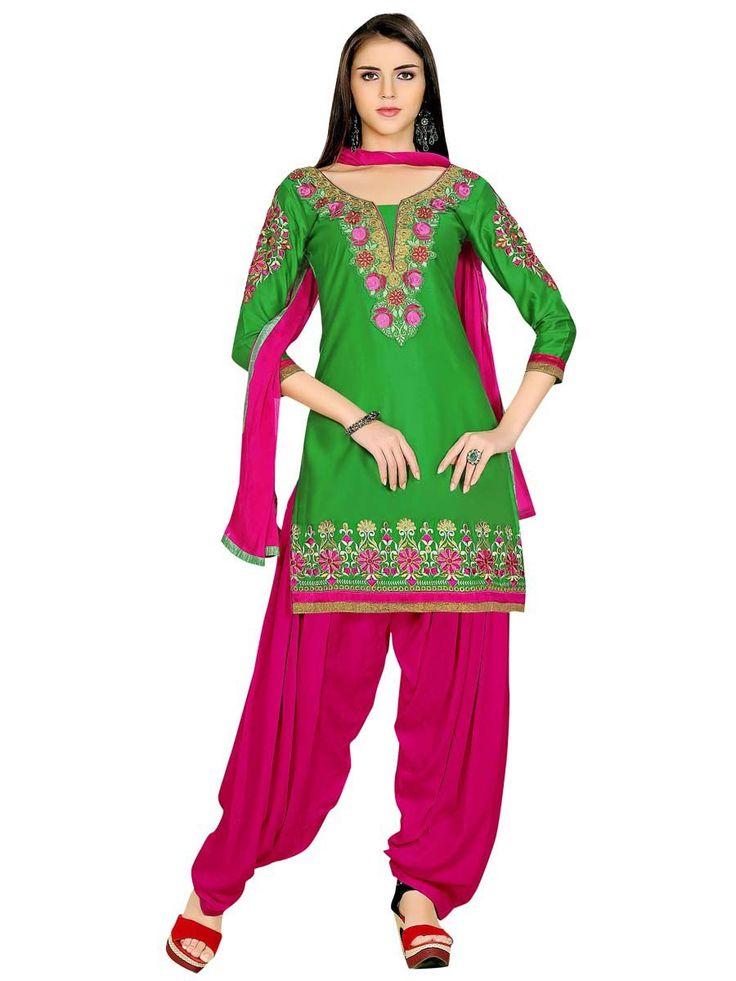 Radiant green color kurta is crafted on cotton with resham, zari work. Item Code: SLANA10008K http://www.bharatplaza.com/new-arrivals/salwar-kameez.html
