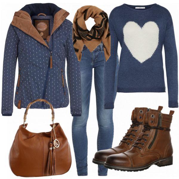 Freizeit Outfits: BlueBrown bei FrauenOutfits.de ____ #freizeitoutfit #freizeit #damen #alltag #mode #fashion #frauenmode #damenmode #stiefeletten #casual #kleidung