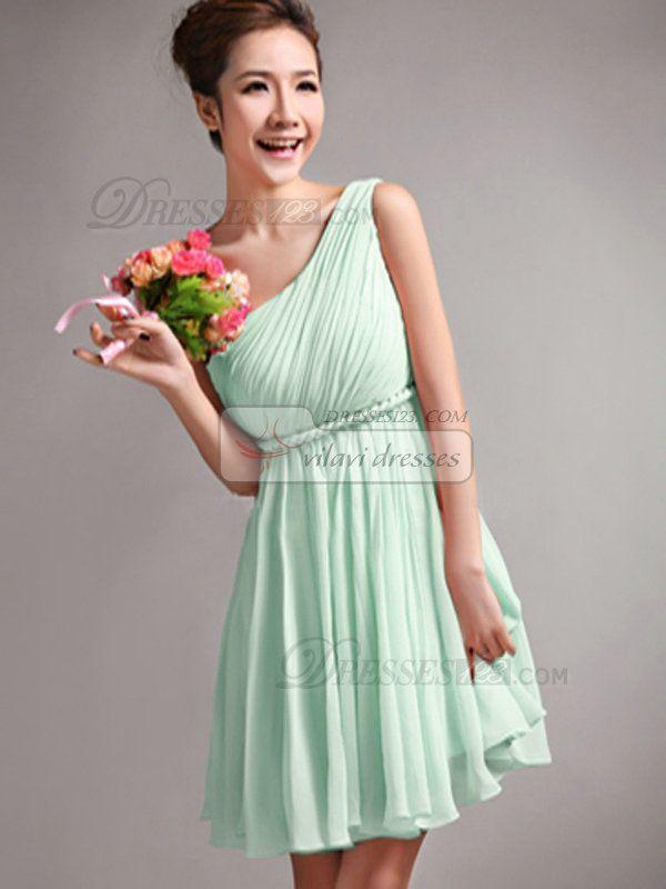 A-Line One Shoulder Draped Short Sage Bridesmaid Dresses - US $79.05