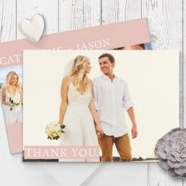 Modern Pink Wedding Thank You Cards Printed Double Sided on Premium Cardstock Peach Perfect Australia
