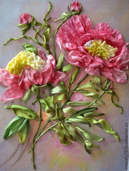 "*RIBBON ART ~ Paintings of flowers handmade. Fair Masters - handmade embroidered ribbons Painting ""Flower of China - Peony."" Handmade."