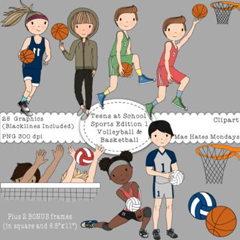 Teens at School Sports Edition 1 - Volleyball and Basketball Make your secondary products, activities and presentations stand out using the Mae Hates Mondays Teens at School Sports Clipart.