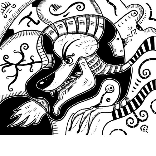 Fire #Wolf #drawing is black and white #artwork of #surrealism wolf. Seems like #surreal wolf is looking through scope. Automatic drawing of a #subconscious mind.  #surrealismo #arte #surrealismus #kunst #ancient #aliens #primitive