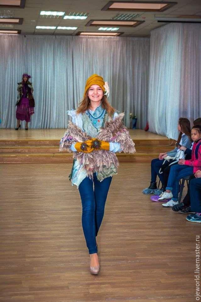"""Купить Шляпка валяная """"Балийский цветок"""" - желтый, шляпка, перчатки, валяние из шерсти, handmade"""